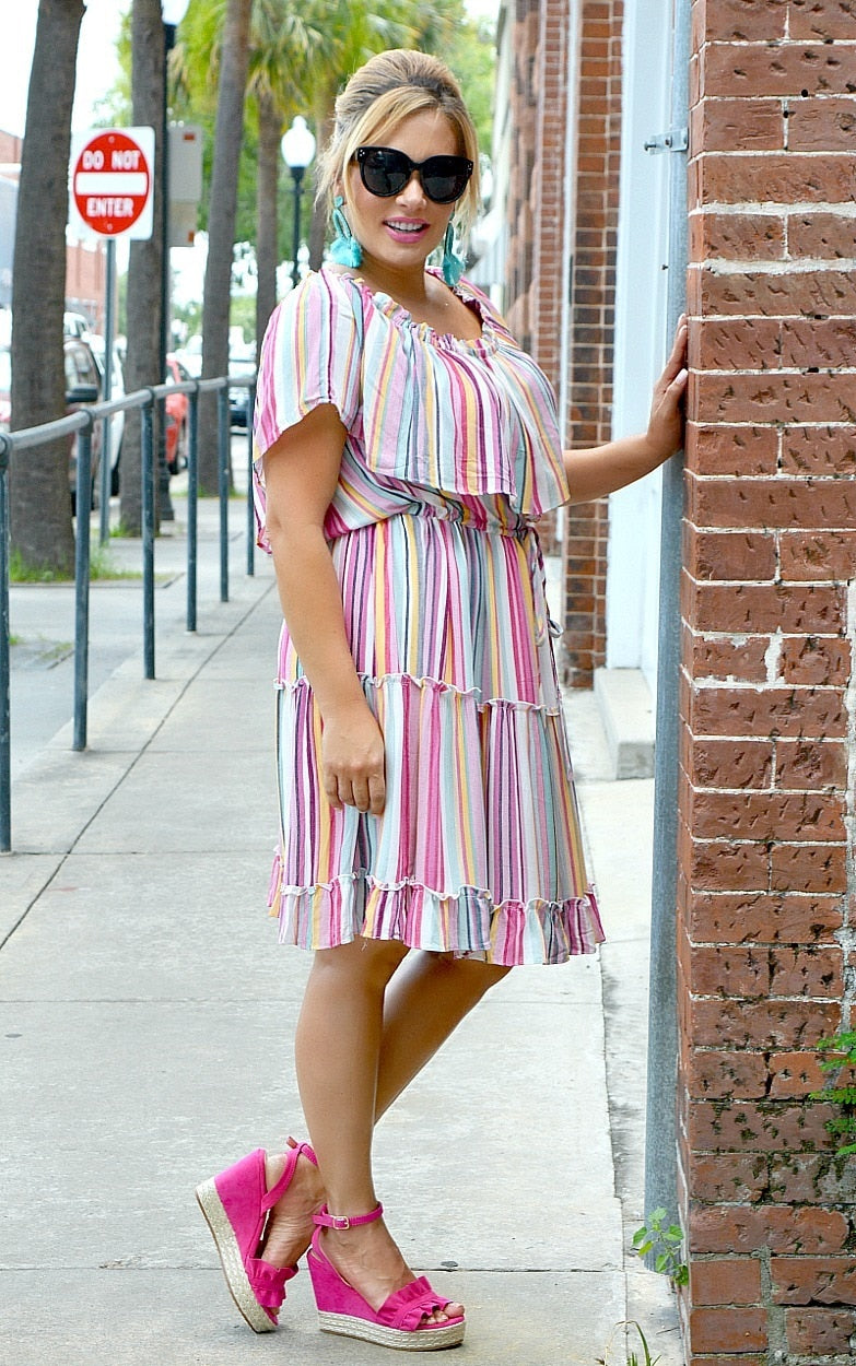 Top Notch Striped Dress - Multi