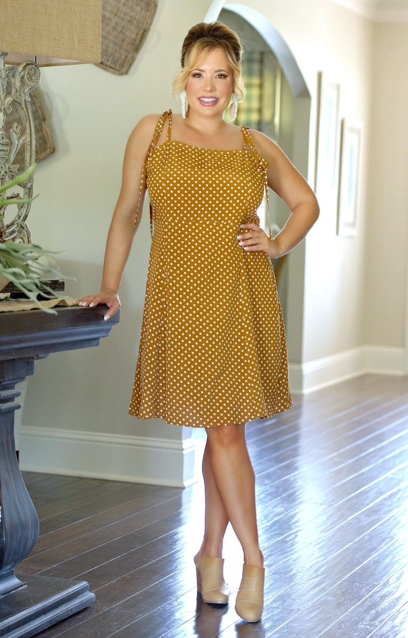 Load image into Gallery viewer, In Your Head Polka Dot Dress - Camel