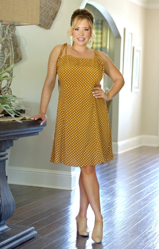 In Your Head Polka Dot Dress - Camel
