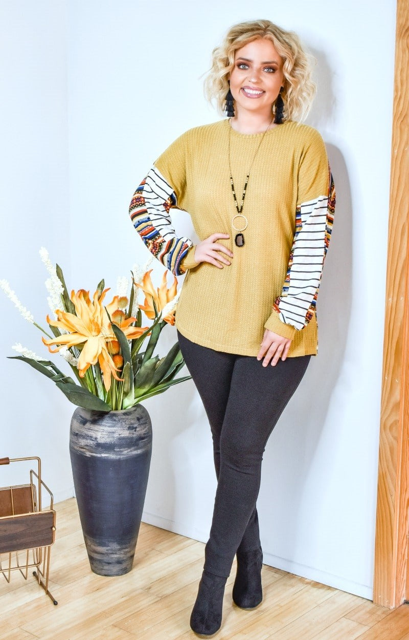 Back Me Up Print Top - Mustard