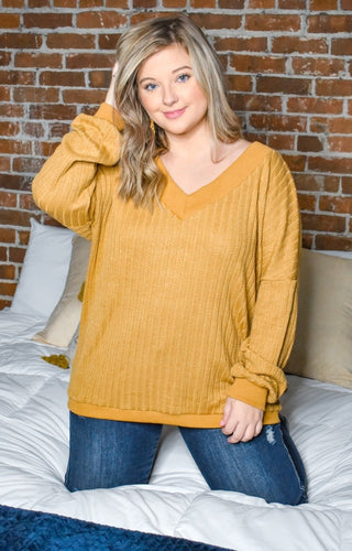 Burn It Up Oversized Sweater - Mustard