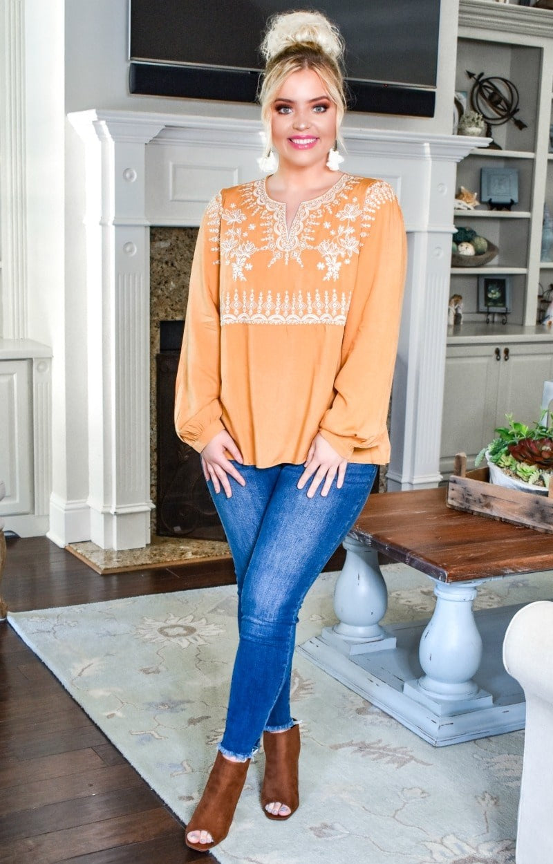 Load image into Gallery viewer, Look This Way Embroidered Top - Marigold