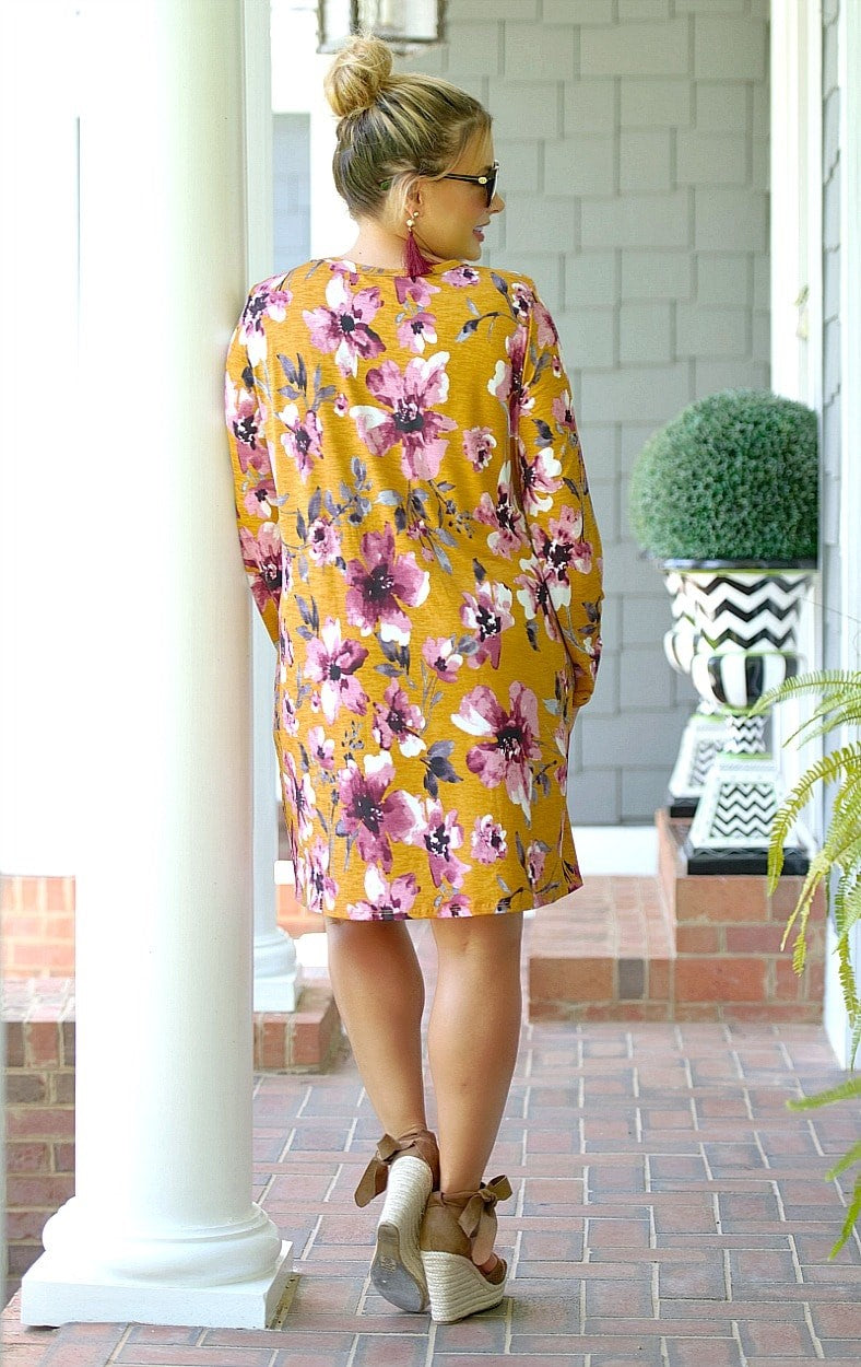 Call Me Up Floral Dress - Mustard