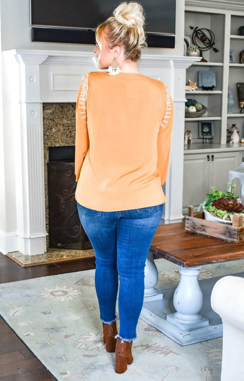 Look This Way Embroidered Top - Marigold