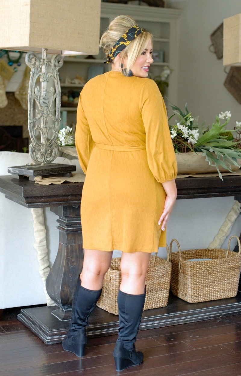 Load image into Gallery viewer, Check Mate Wrap Dress - Mustard