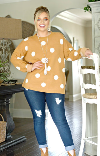 Take A Shot Polka Dot Sweater - Marigold