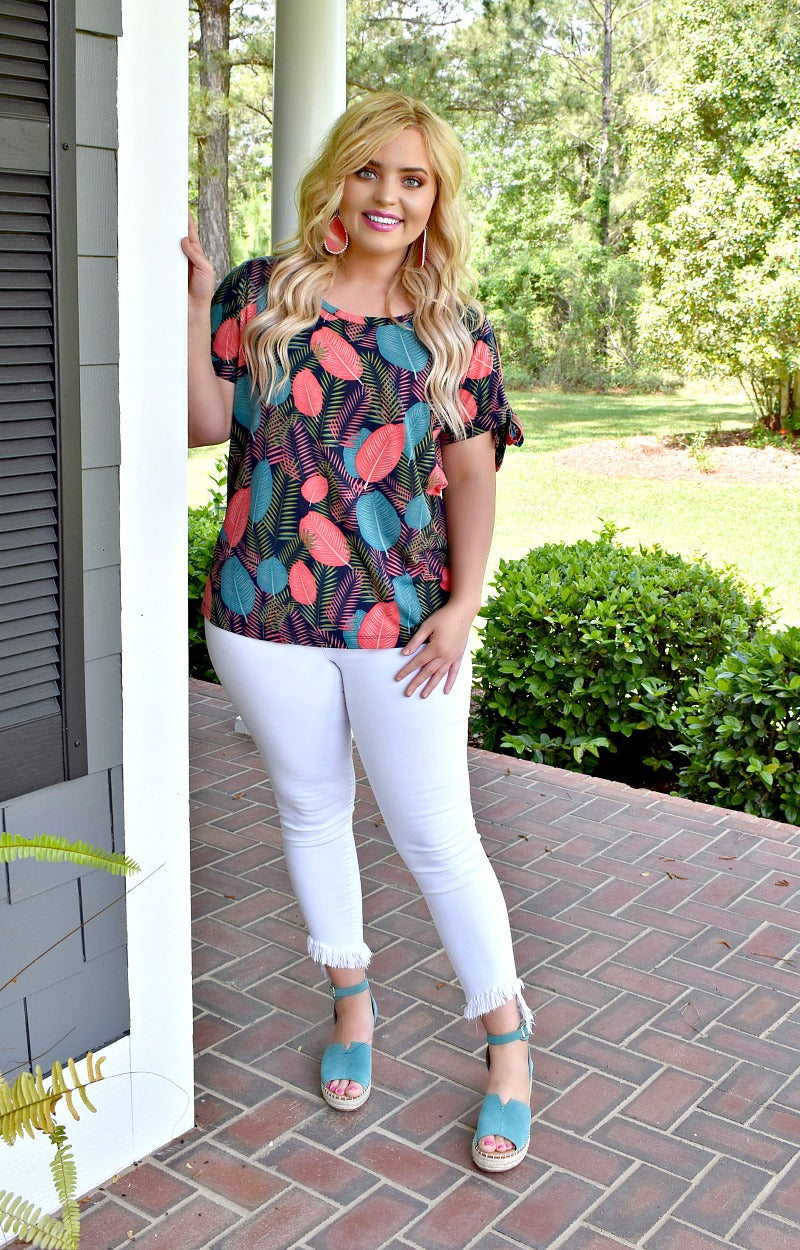Load image into Gallery viewer, Going Coastal Print Top - Navy/Multi