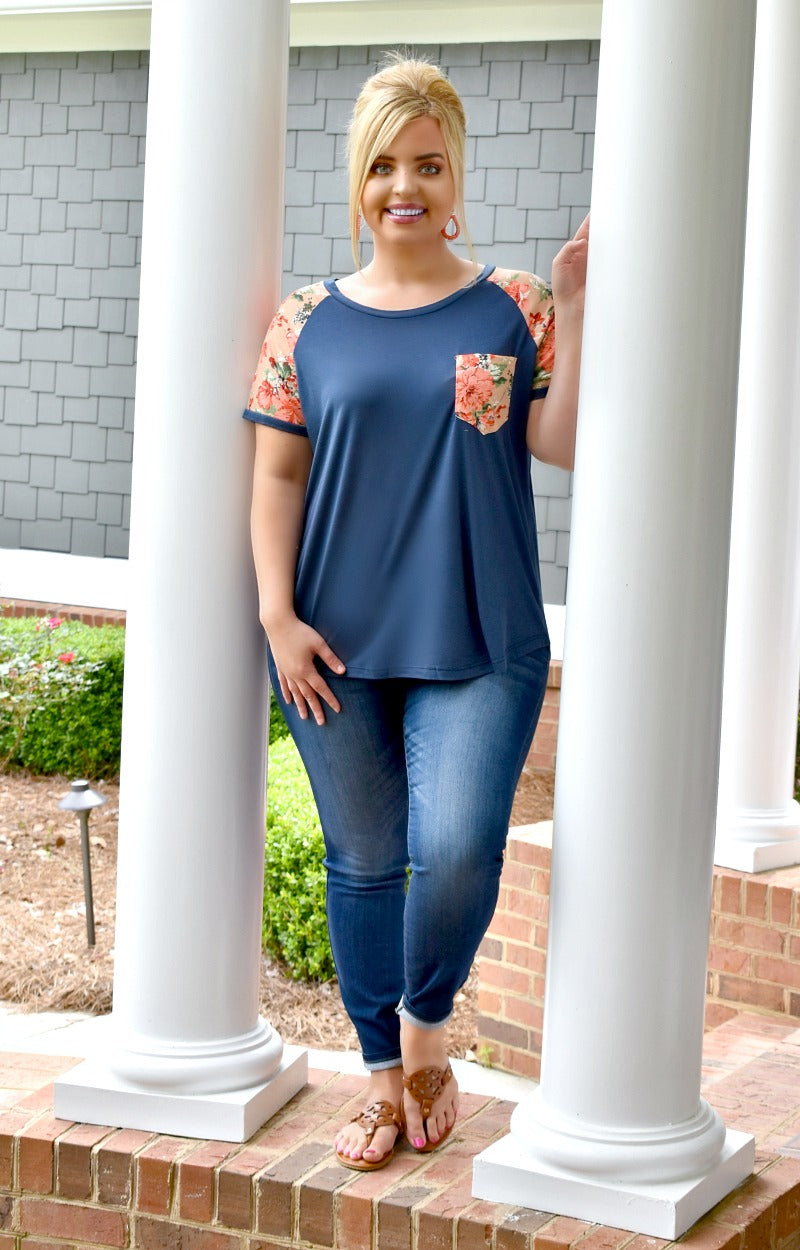 Love Of My Life Floral Top - Navy