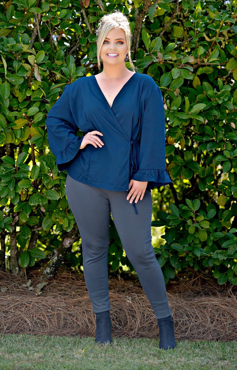 Load image into Gallery viewer, It's Go Time Wrap Top - Navy