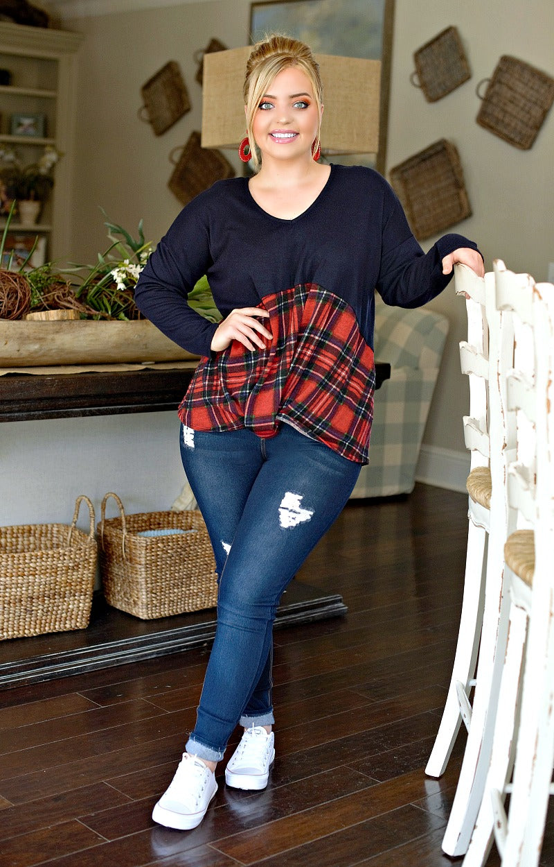 Fully Prepared Plaid Top - Navy/Red