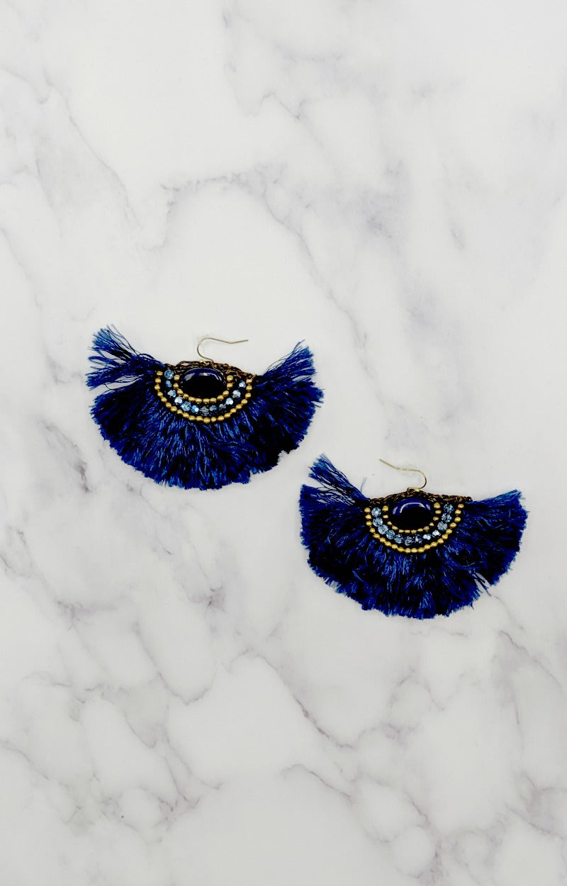 Load image into Gallery viewer, By A Thread Earrings - Navy