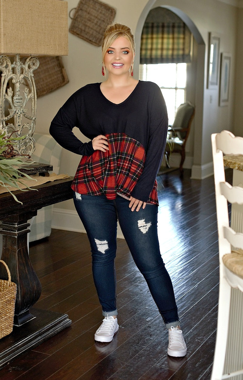Load image into Gallery viewer, Fully Prepared Plaid Top - Navy/Red