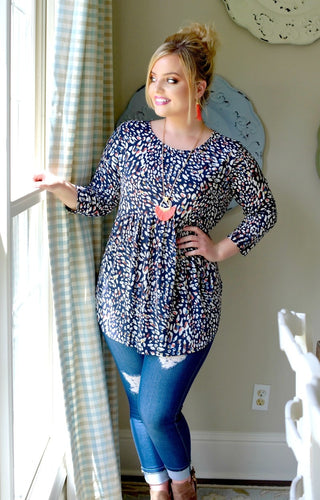 Slow It Down Print Top - Navy