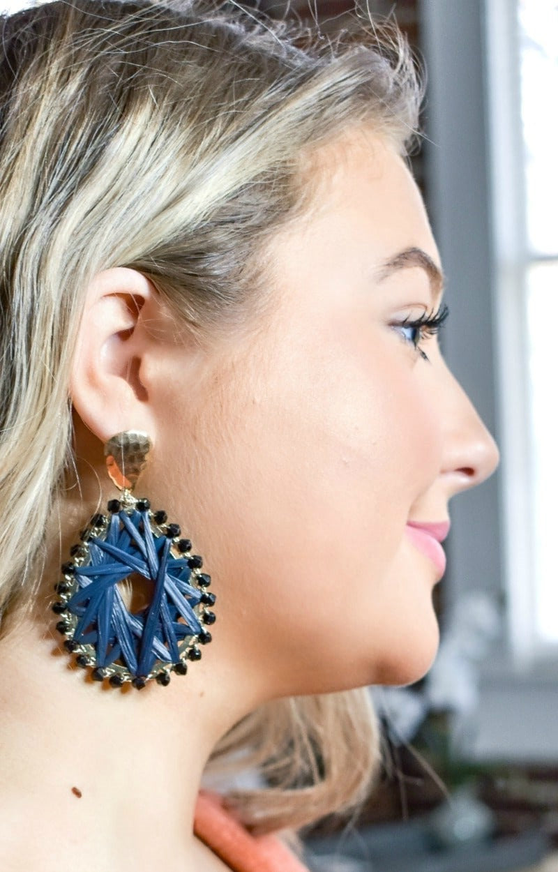 Load image into Gallery viewer, On The Line Earrings - Navy