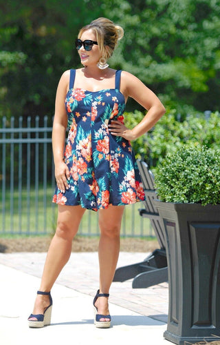 Summertime Fun Floral Romper - Navy