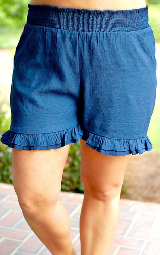 Made To Perfection Ruffle Shorts - Navy