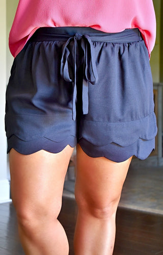 Tied Together Scalloped Shorts - Navy
