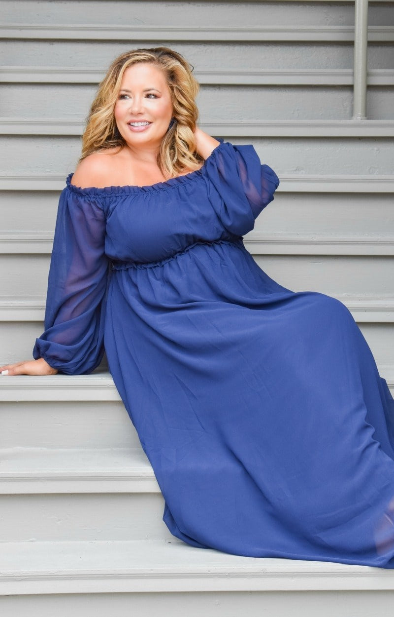 Load image into Gallery viewer, Heart Stopping Maxi Dress - Navy