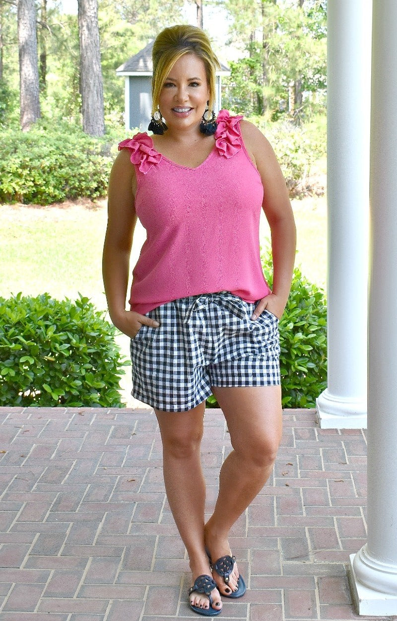 Load image into Gallery viewer, Picnic Chic Gingham Shorts - Navy