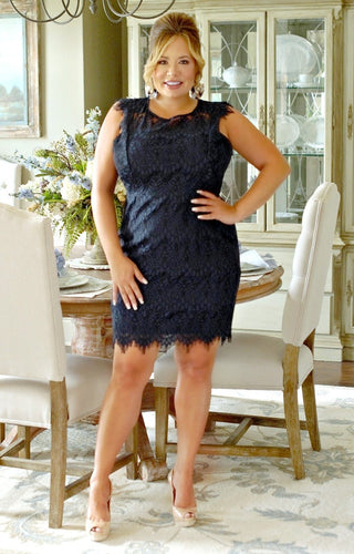 Adored By You Lace Dress - Navy