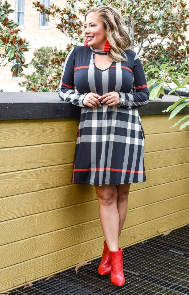 Load image into Gallery viewer, I Won't Mind Plaid Dress - Black