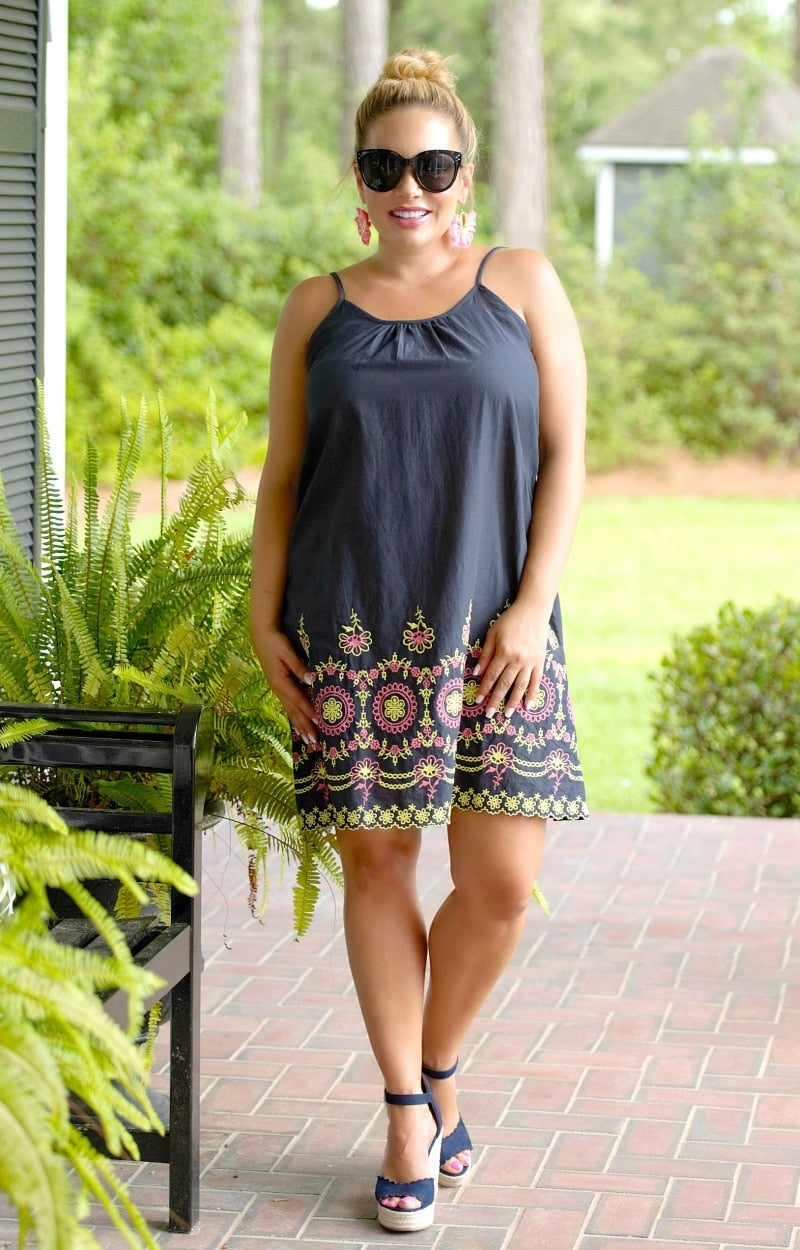 Make This Easy Embroidered Dress - Navy