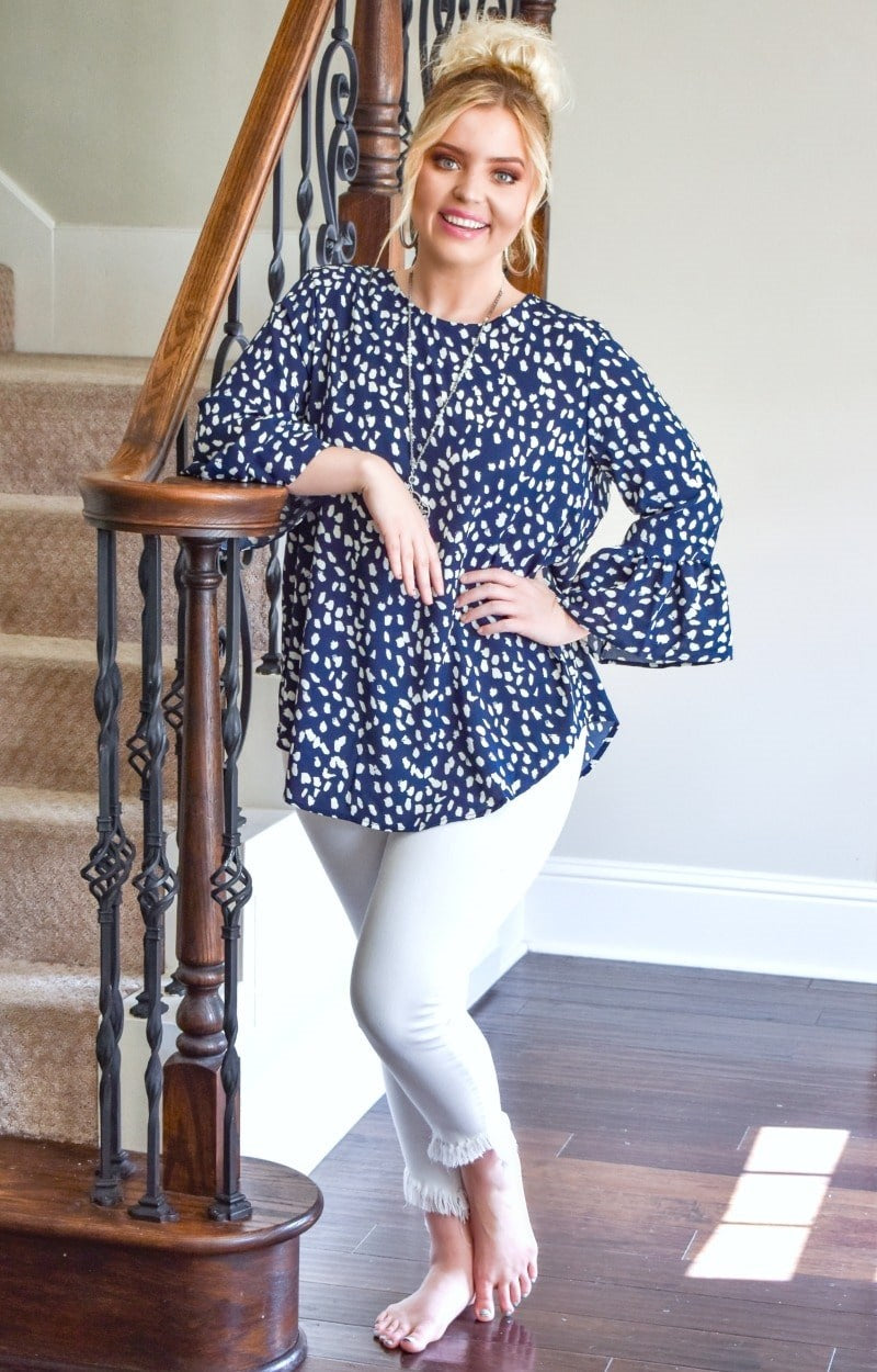 Talk The Talk Print Top - Navy