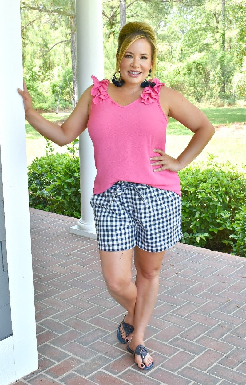 Picnic Chic Gingham Shorts - Navy