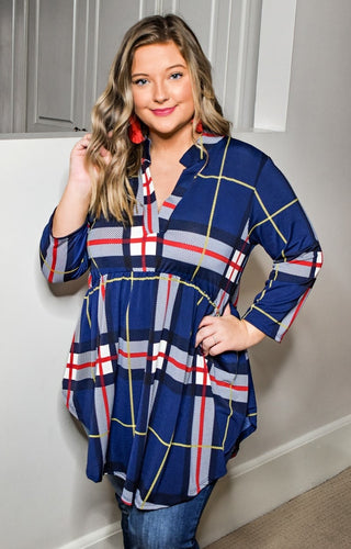 The Little Things Plaid Top - Navy