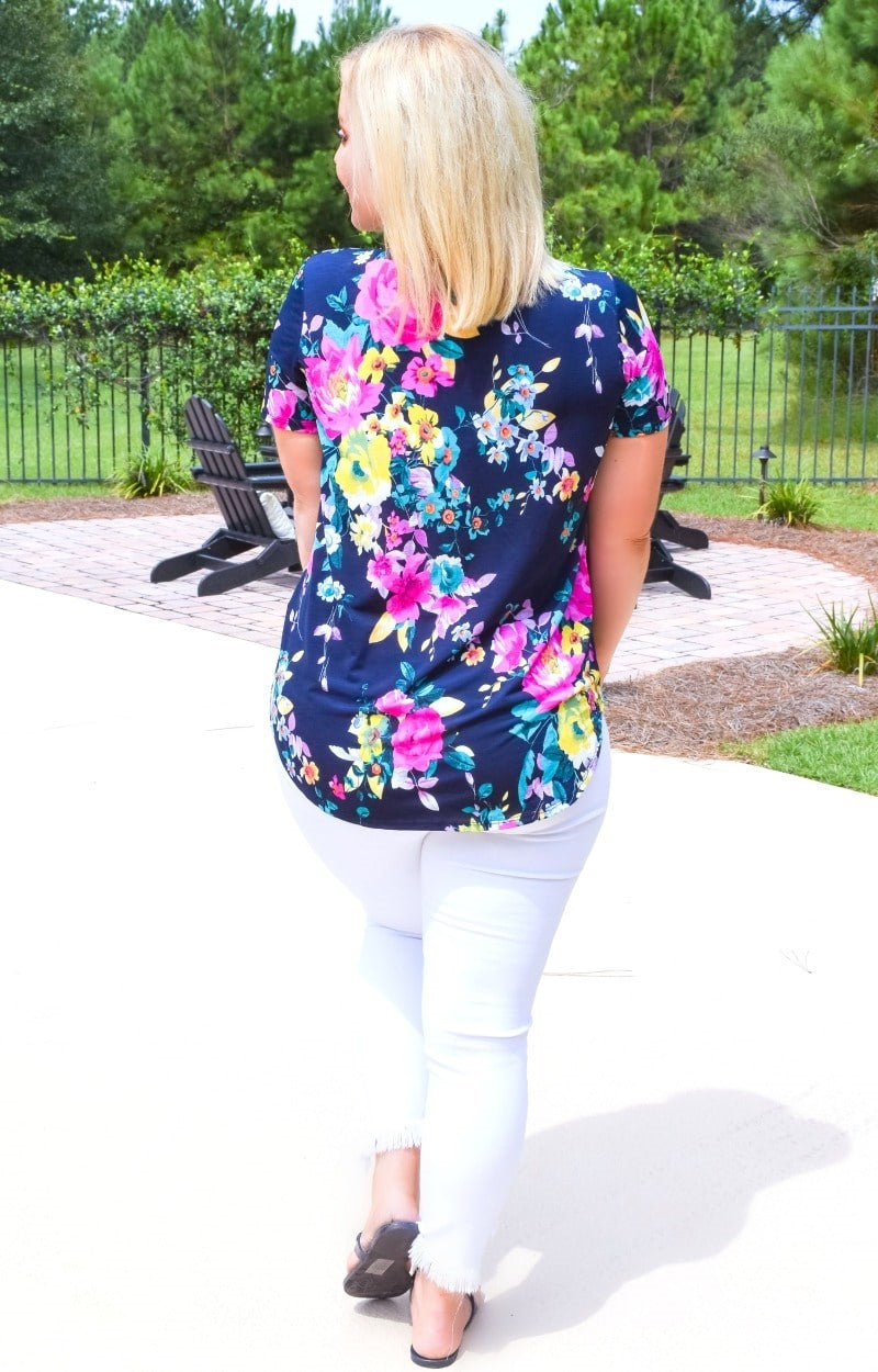 Just One Look Floral Top - Navy/Pink