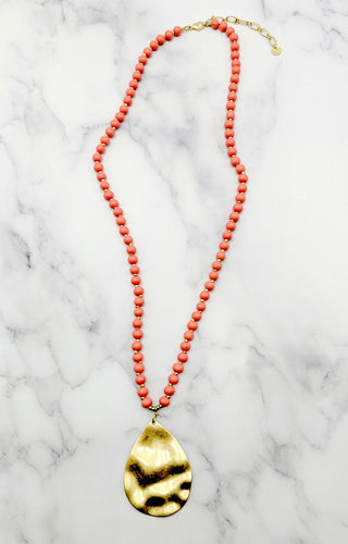 Happy As Can Be Necklace - Coral