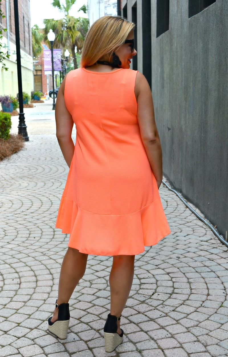 Load image into Gallery viewer, She's A Keeper Dress - Neon Coral