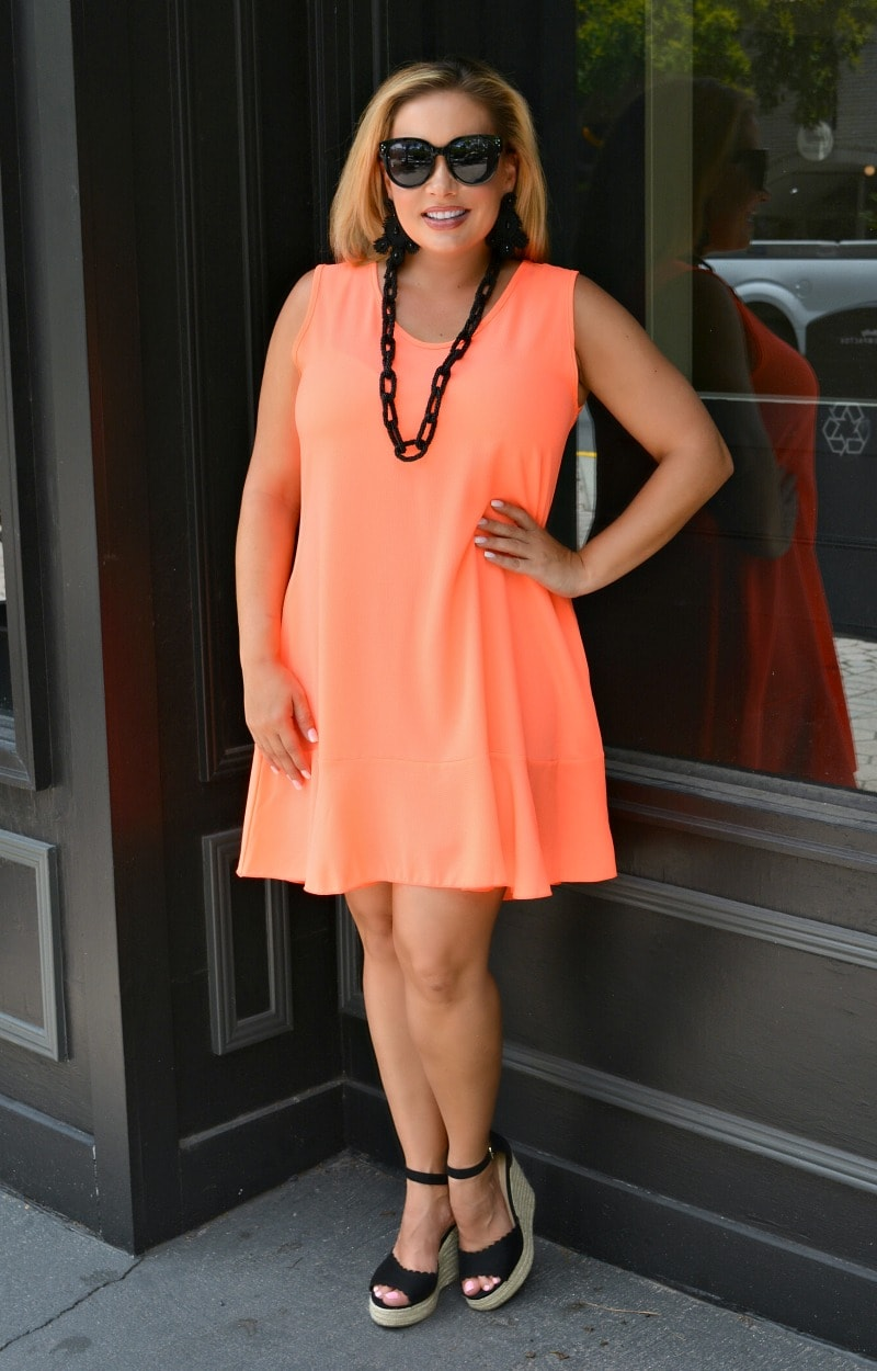 She's A Keeper Dress - Neon Coral