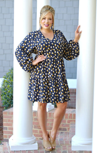 Not So Innocent Print Dress - Navy
