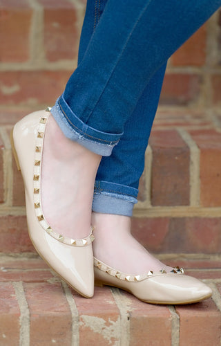 Very Unpredictable Studded Flats - Nude