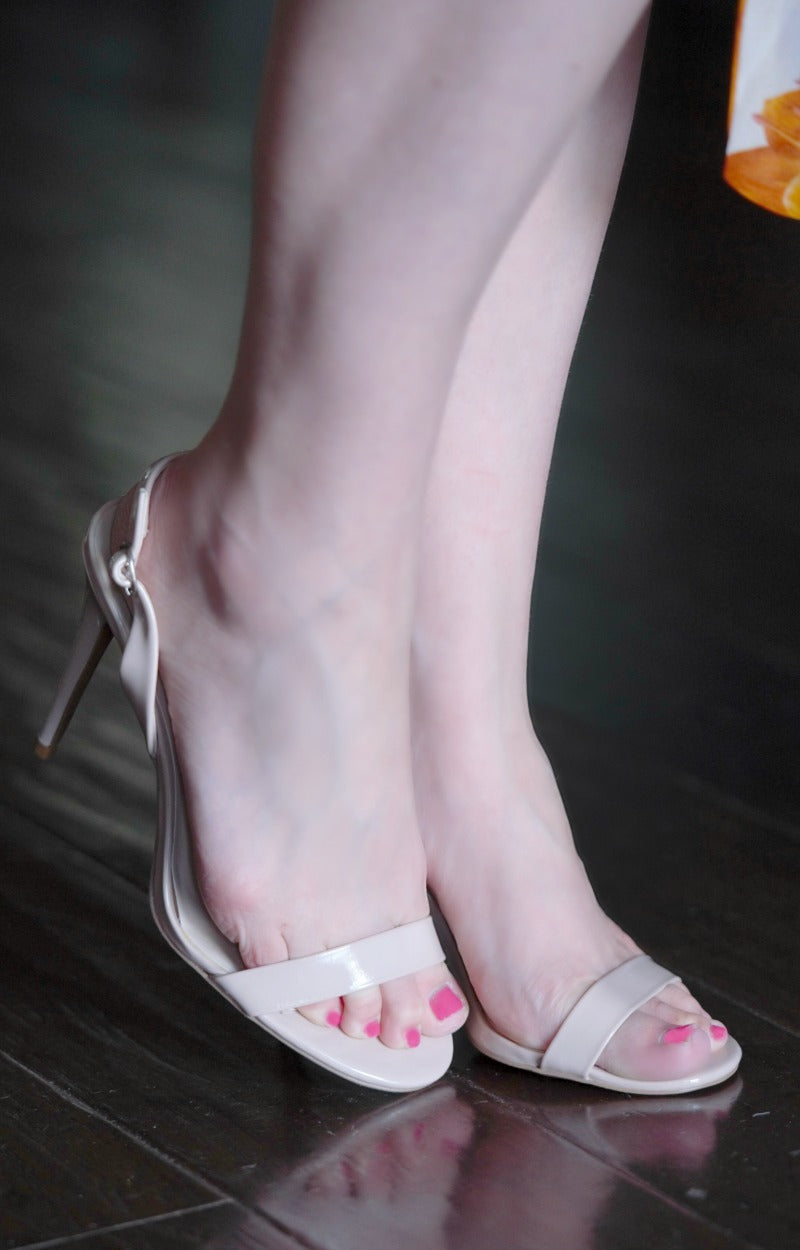 Double The Fun Slingback Heels - Nude