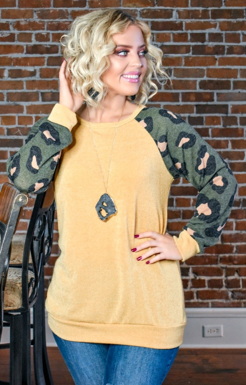 Since Day One Leopard Print Pullover - Mustard