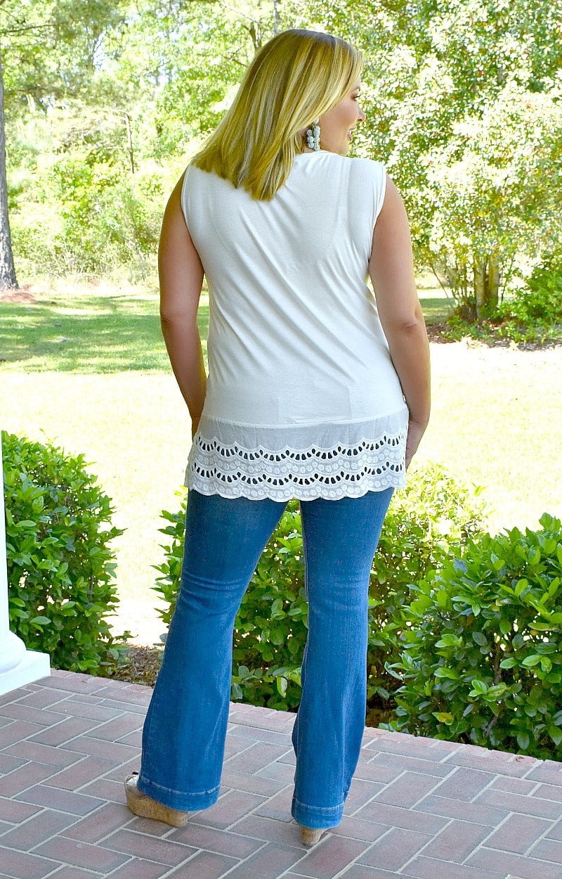 The One To Watch Eyelet Top - White