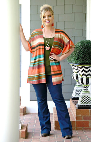 Twisted Heart Striped Cardigan - Multi
