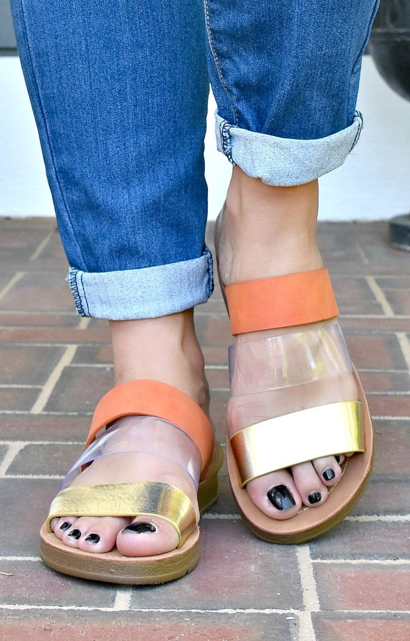 Load image into Gallery viewer, Strapped In Sandals - Orange/Gold