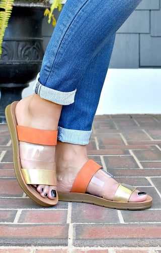 Strapped In Sandals - Orange/Gold