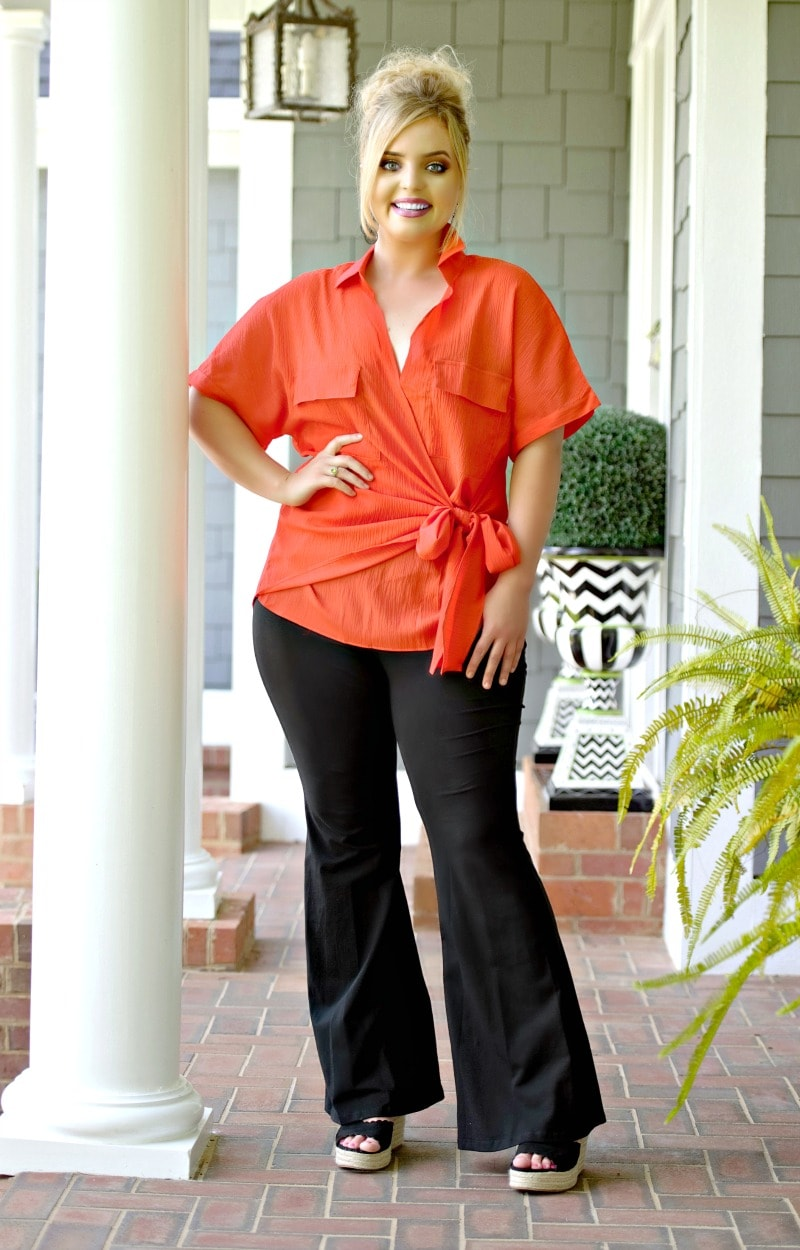 Feeling The Connection Wrap Top - Orange