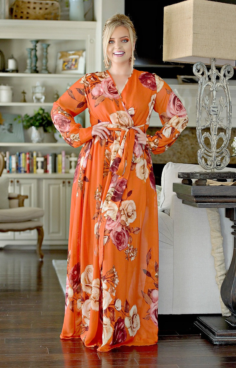 Load image into Gallery viewer, Don't Lose Touch Floral Maxi Dress - Rust