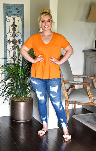 Lounging Around Pocket Tee - Pumpkin