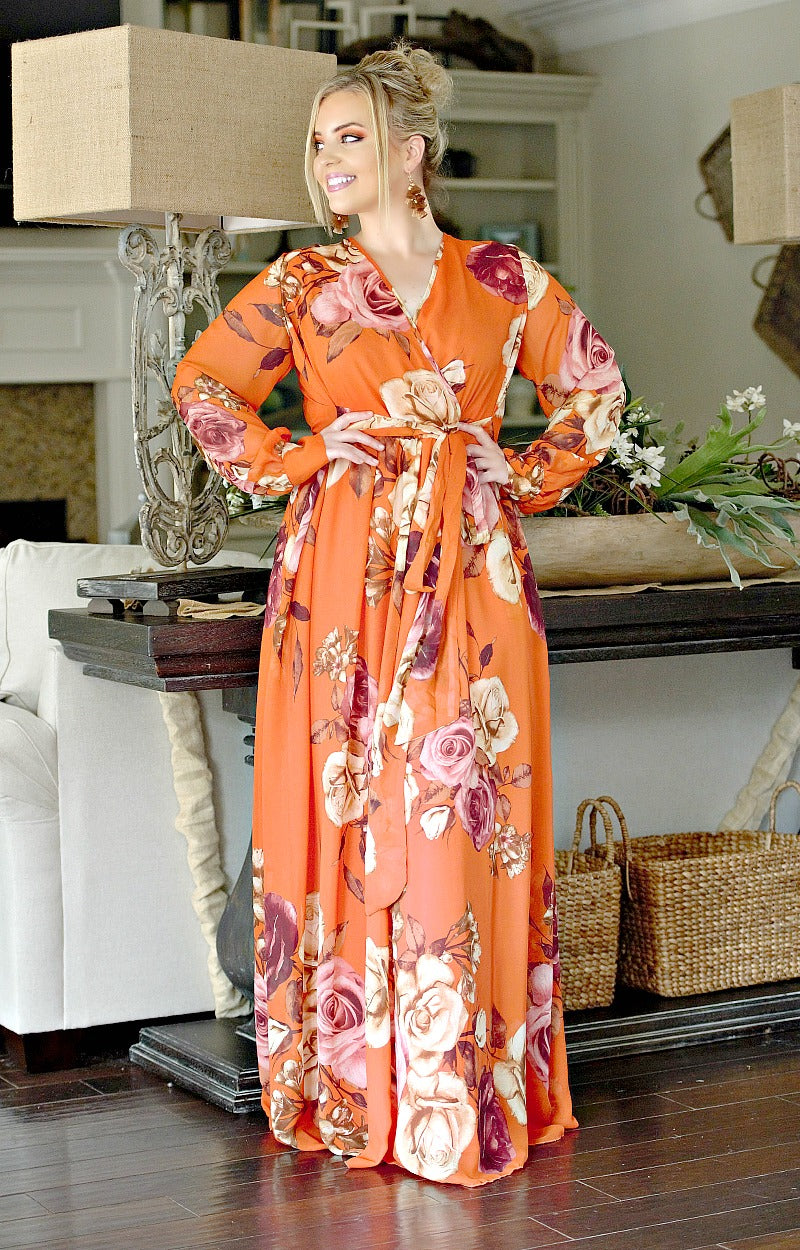 Don't Lose Touch Floral Maxi Dress - Rust