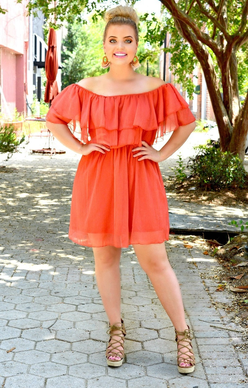 Time To Shine Dress - Coral