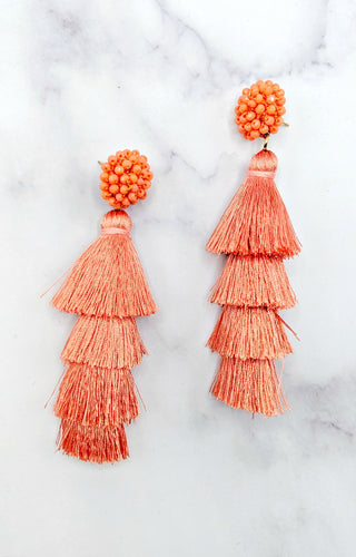 Get A Head Start Earrings - Coral