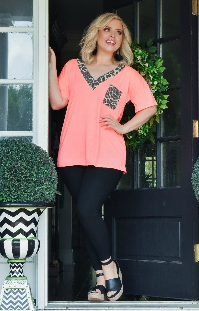 Load image into Gallery viewer, A Little Charmed Leopard Print Top - Neon Coral