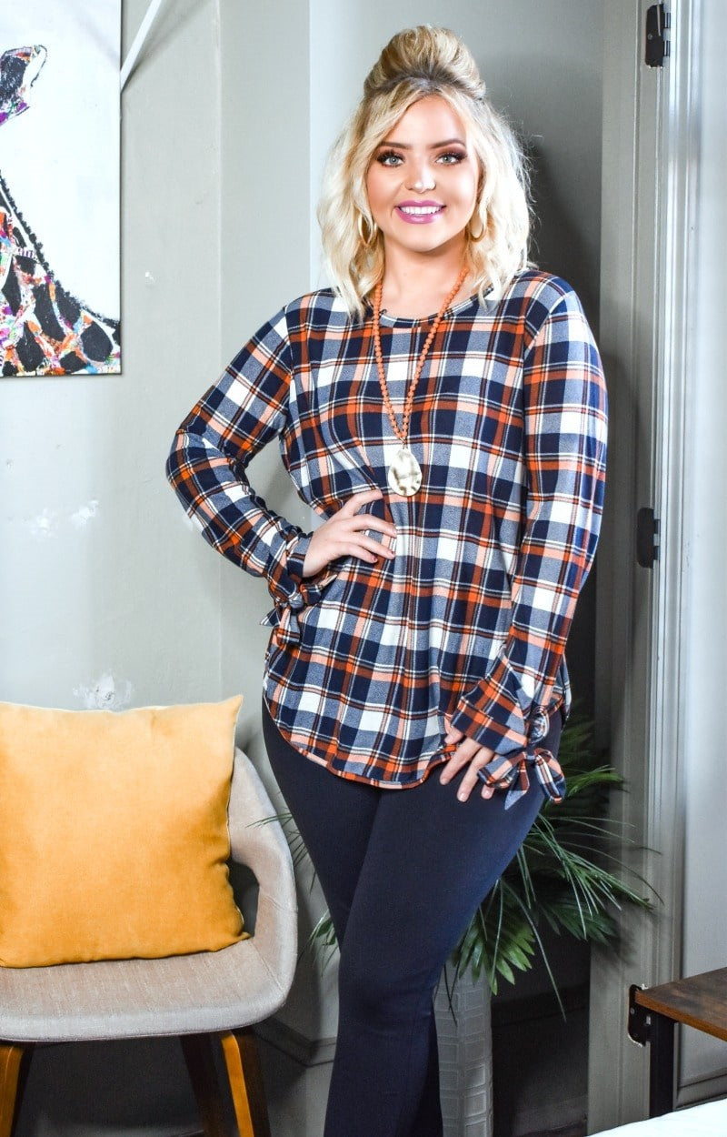 All Tied Up Plaid Top - Navy