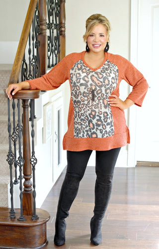 Total Package Leopard Print Sweater - Rust